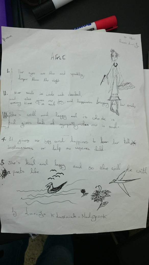 Lucija's poem to me